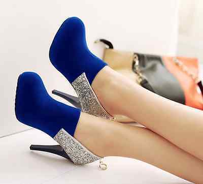 60689cb175c Ladies Womens Rhinestone Sole Suede Look and Back Zipper ...
