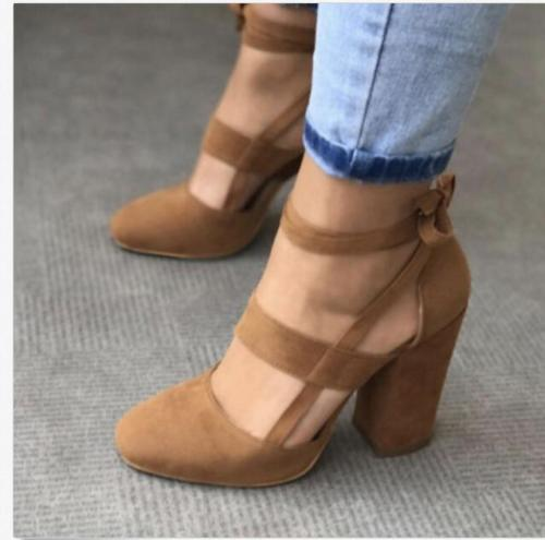 lower price with sale uk new arrivals Ladies Womens Front Strap Block Heel Ankle Tie Strap Dress ...