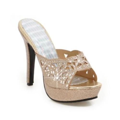 Ladies Womens Rhinestone Cut Out Design Platform Mule Pumps Stiletto High Heel Shoes