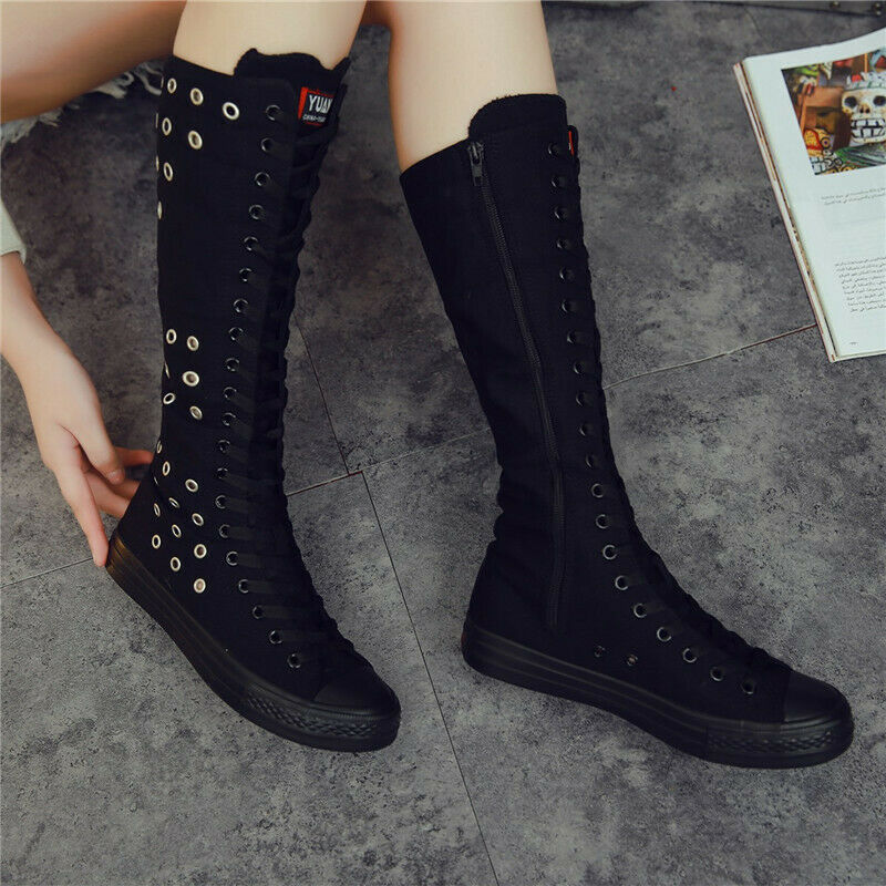 Ladies Punk Knee Length Lace Up Side Zip Round Stud Hollow Out Casual Boots Sneakers Tennis Shoes