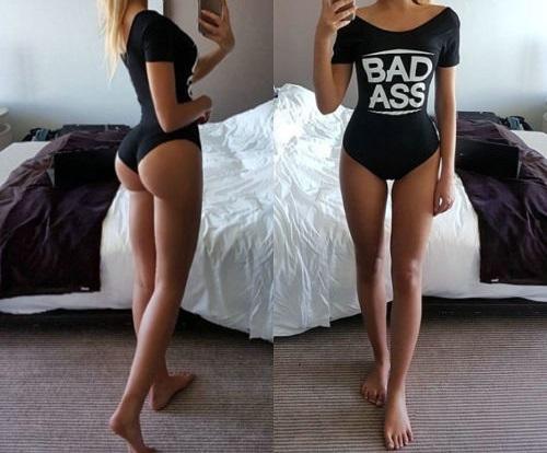 Ladies Womens Girls Bad Ass Sexy Short Sleeve Leotard Bodysuit