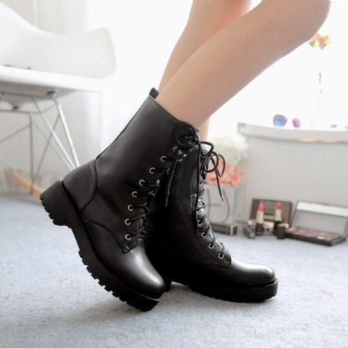Womens Ladies New Vogue Punk Leather Lace Up Combat Biker Ankle Boots Shoes