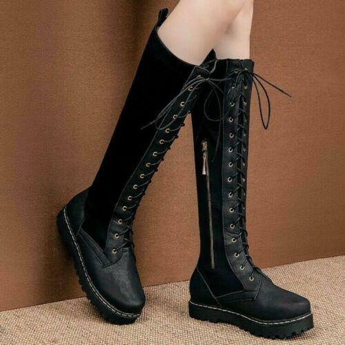 Ladies Punk Zip Up Knee Length Military Lace Up Flat Riding Boots