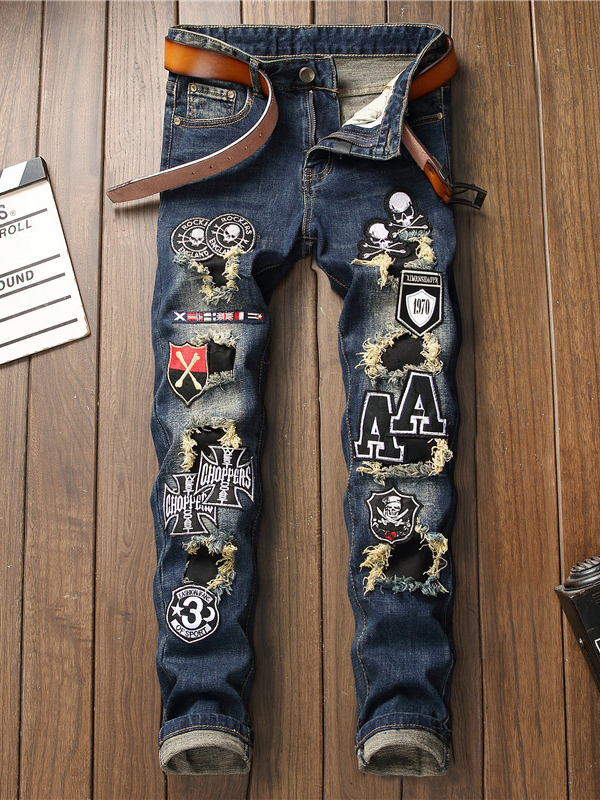 Mens Chic Applique Fitted Straight Leg Distressed Jeans