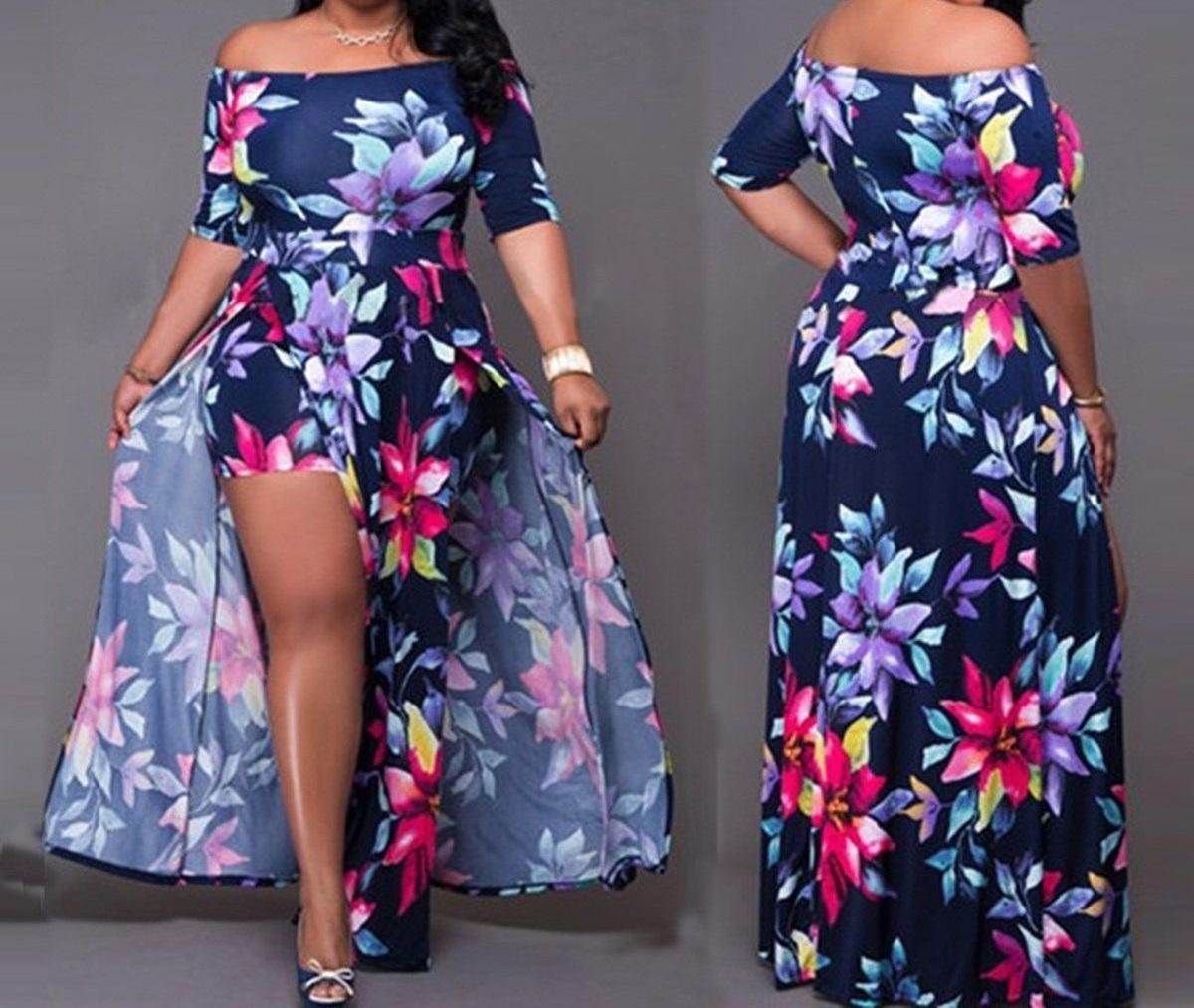 Ladies Womens Regular & PLUS SIZE Casual Evening Wear Short Sleeve Floral 3  Piece Look Top Mini Shorts Maxi Dress