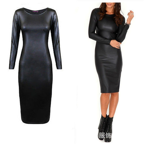 Ladies Womens Black Zipper Long Sleeve Knee Length Black Leather PVC Bodycon Clubwear Sexy Dress