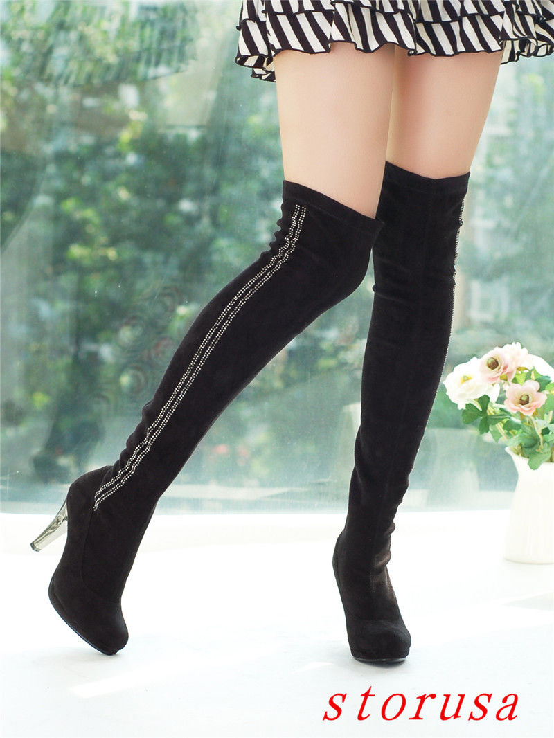 64b78104c59 Ladies Womens Faux Suede Over The Knee Rhinestone Thigh Boots