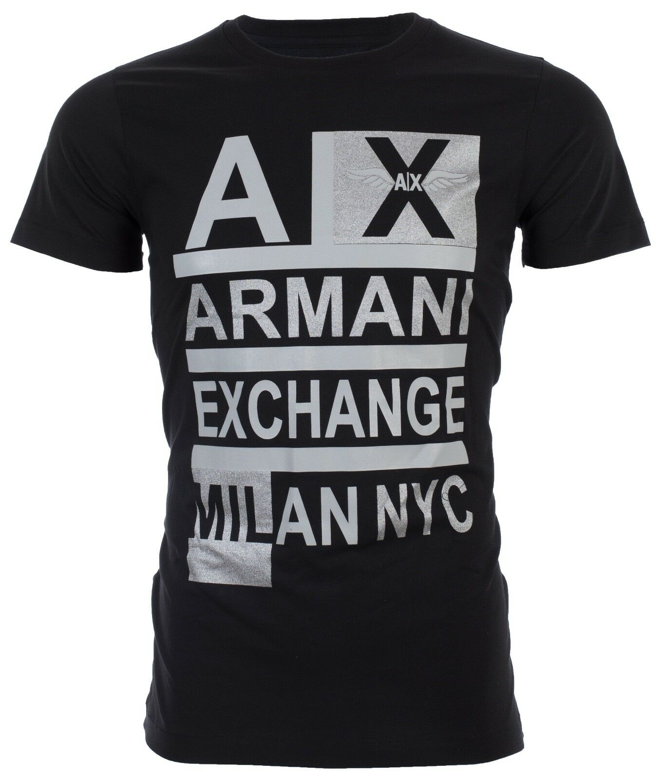 Mens Armani Exchange Milan NYC Stacked Short Sleeve Black Slim fit Haute Couture Designer T-Shirt T shirt