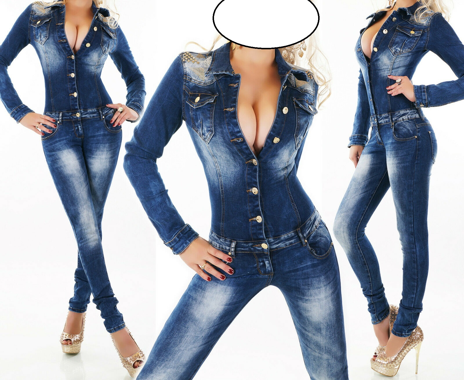 Ladies Womens Long Sleeve Studded Shoulder Gold Color Button Down The Front Sexy Denim Jeans Jumpsuit Bodysuit