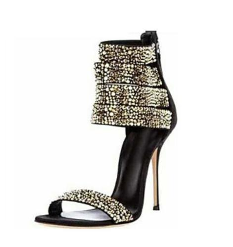 85f23f01b2114 Ladies Womens Rhinestone Multi-Ankle Strap Back Zipper Sexy High ...