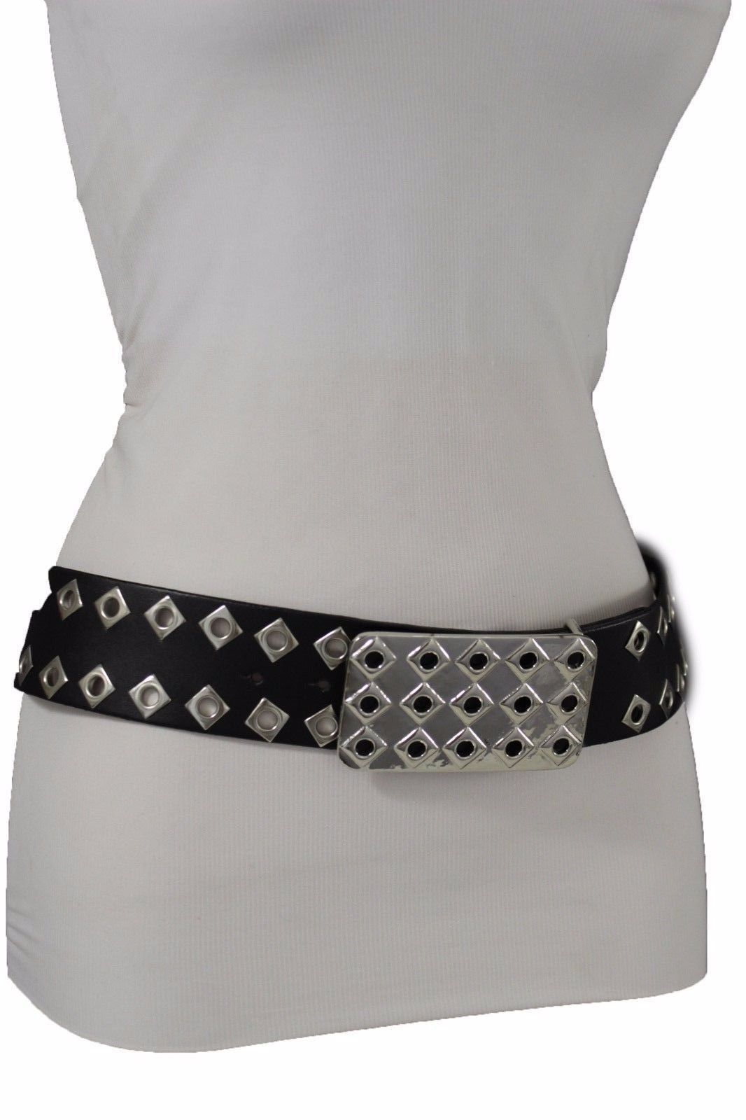 Ladies Womens Black Faux Leather Silver Metal Stud Gothic Punk Rock Fashion Belt
