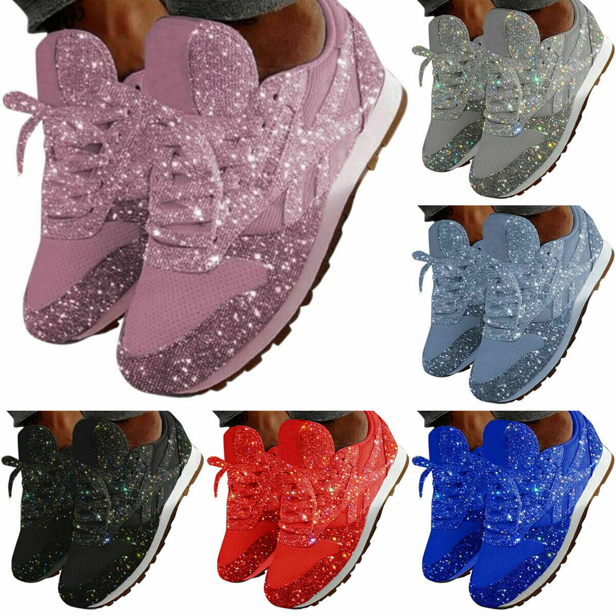 Ladies Womens Sequin Glitter Sneakers Tennis Shoes Casual Athletic Shoes