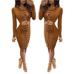 Lady Long Sleeve Front Tie Bodycon Clubwear Sexy Mini Dress