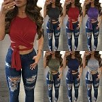 Ladies Womens Sexy Sleeveless Wrap Around Tie Up Casual Spring Summer Bodycon Top Shirt