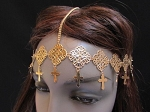 Ladies Womens Girls Imitation Gold Tone Moroccan Design Crosses Metal Chain Headband