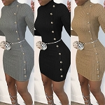 Ladies Sexy Long Sleeve Slim Fit Bodycon Side Button Winter Knit Pullover Sweater Dress Work Office Party Dress