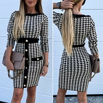 Ladies Sexy Checkered Slim Fit Front Button Bodycon Office Work Party Business Dress