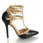 Ladies Womens T-Strap Stud Metal Pyramid 3 Buckle 2 Toned Stiletto Patent Leather High Heel Shoes