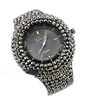Ladies Womens Girls Hip Hop Rock Punk Goth Gun Metal Diamond Look Cuff Designer Watch