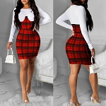 Ladies White & Plaid Sexy Long Sleeve Bodycon Jumper Mini Dress