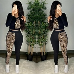 Ladies Black & 2 Toned Leopard 2 Pc Top & Pants Tracksuit Jogging Suit Gym suit sweatsuit Sportswear