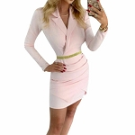 Ladies Sexy Lapel Collar Low Cut V Neck Long Sleeve Bodycon Office Work Business Mini Dress