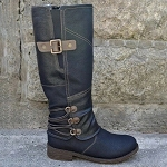Ladies PU Leather Mid Calf Side Buckle Low Block Heel Boots