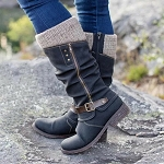 Ladies PU Leather Mid Calf Zipper Low Back Heel Top Knit Legging Boots