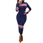 Ladies High Neck Sexy Midi Long Bodycon Evening Party Sweater Dress