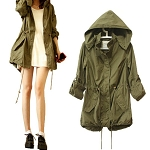 Ladies Women Girls Knee Length Army Green Military Trench Coat with Hoody