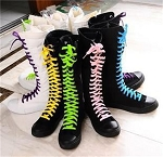 Ladies Womens Girls Chuck Style Knee Length Sneakers Tennis Sports Exercise Casual Shoes with 5 Color Shoelaces