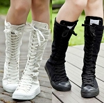 Ladies Womens Cool girls Lace Up Knee Length Punk Goth Rock Rave Casual Sports Athletic Canvas Side Zip Sneakers Tennis Shoes Boots
