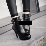 Ladies Womens Sexy Leather 2 Side Buckle Platform Clubwear Party Ankle Boots