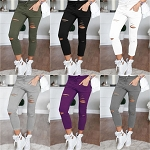 Ladies Womens Ripped Torn Casual Sexy Sweat Pants Style Front Waist Tied Skinny Stretch Jeans