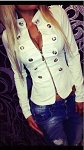 Ladies Womens White Neru Collar Metal Studded Button Casual Jacket with Front Zipper