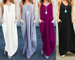Ladies Womens Boho Sleeveless Party Summer Beach Casual Evening Cocktail Long Maxi Dress with Side Pockets Sz S M L XL 2XL 3XL 4XL 5XL