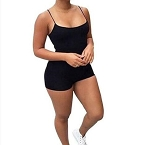 Womens Ladies Sexy Bodycon Bodysuit Spaghetti Sleeve Shorts Jumpsuit