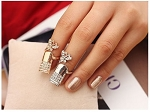 Ladies Womens Girls Rhinestone Gold Tone Butterfly Knuckle Ring Jewelry