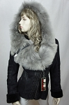 Ladies Womens Genuine Shearling Leather Sheepskin Fur Hoody Suede Toscana Buttery Soft Warm Winter Jacket