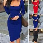 Womens Ladies Long Sleeve Sexy Bodycon Knee Length Bandage Slim Party Casual Pencil Dress