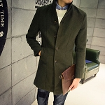 Mens Single Breast Wool Blend Casual Business Conservative Dress Warm Winter Coat Jacket