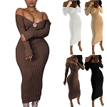 Ladies Womens Regular & PLUS SIZE Long Sleeve Knitted Bodycon V-Neck Off Shoulder Maxi Dress