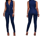 Ladies Womens Low Cut Front Zipper with Side Zipper Pockets Sleeveless Sexy One Piece Jean Denim Jumpsuit