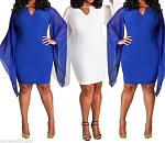 Ladies Womens PLUS SIZE Sexy Bodycon Bat Sleeve Knee Length Casual Evening Clubwear Dress