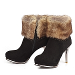 Ladies Womens Faux Fur Top Faux Suede Sexy Ankle Boots