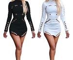 Ladies Womens Circle Grommet Long Sleeve Sexy Bodycon Dress Club Party Goth Rock Mini Dress