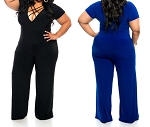 Ladies Womens Regular & PLUS SIZE Front Cross Spaghetti Strap V-Neck Casual Clubwear Cocktail Jumpsuit