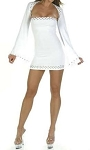Ladies Womens White Rhinestone Bell Sleeve Clubwear Party Coctail Eveningwear Sexy Mini Dress