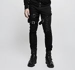 Mens Boys Punk Rock Maven Goth 2 Leg Buckle Silver One Grommet Hole Leg Tie Up Casual Sportswear Cargo Jeans
