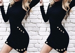Ladies Womens Regular & PLUS SIZE Long Sleeve High Turtle Neck Sweater Business Evening Casual Clubwear Gothic Punk Mini Dress with Metal Round Stud Pockets and Bottom
